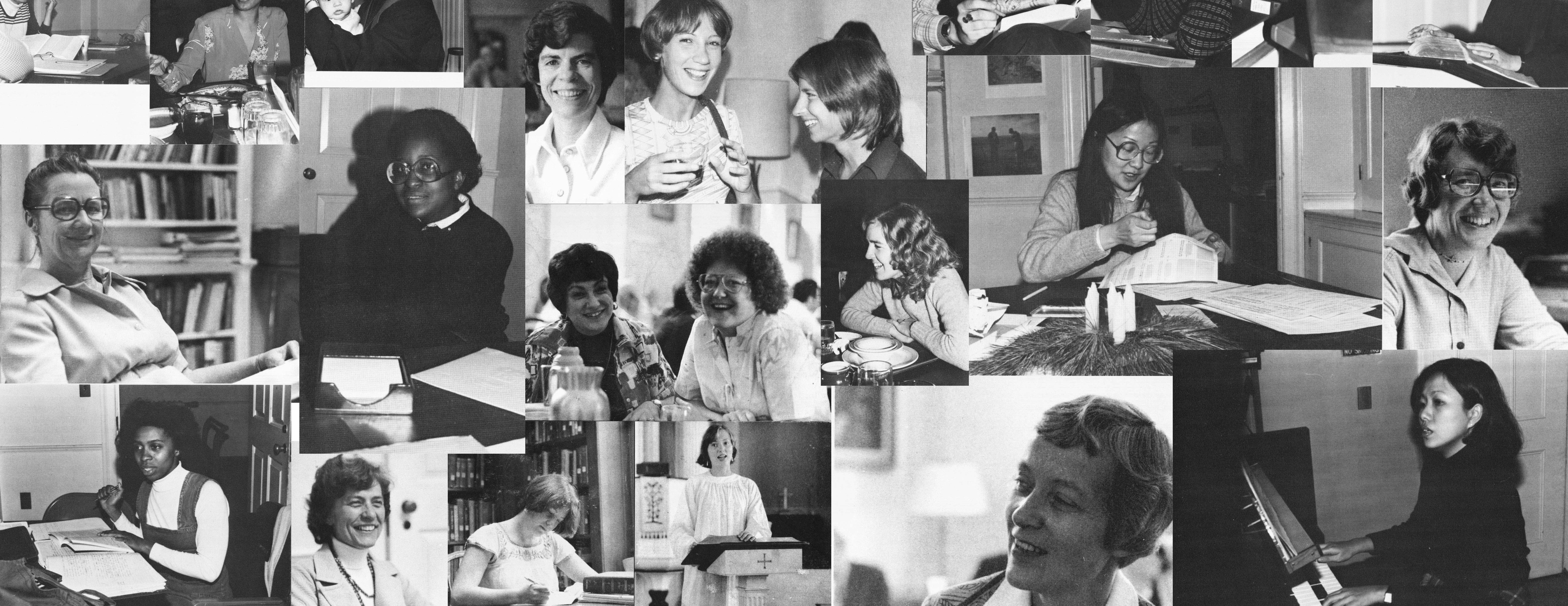 Collage of images of women at Yale Divinity School in the 1970s and 1980s