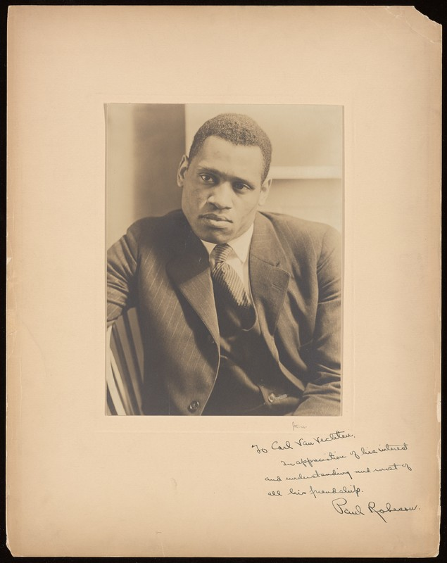 """Photograph of Paul Robeson inscribed, """"To Carl Van Vechten, in appreciation of his interest and understanding and most of all his friendship."""" Signed by Robeson."""