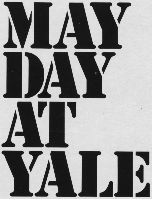 """""""May Day at Yale Logo"""" in black lettering against white background."""