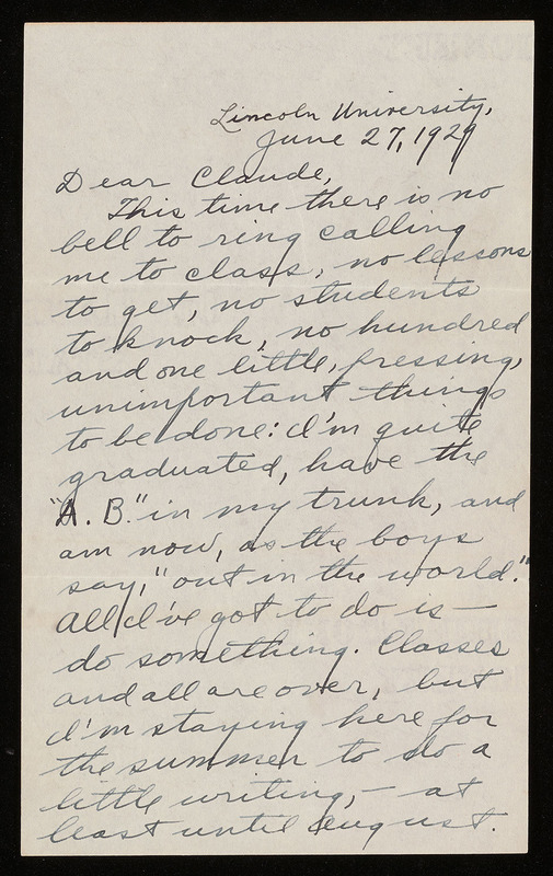 Letter from Langston Hughes to Claude McKay, June 27, 1929.