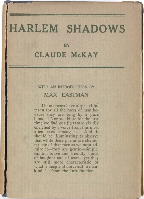 Book cover of Harlem Shadows by Claude McKay.  Plain cover with title and author's name. No images.