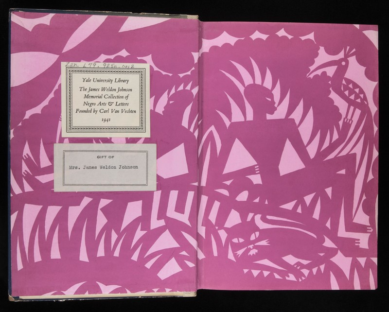 The endpaper for the 1925 version of The New Negro, featuring a Yale Library bookplates day another sticker saying the book was a gift of Mrs. James Weldon Johnson. The endpaper has a pink background with slightly darker pink figures.