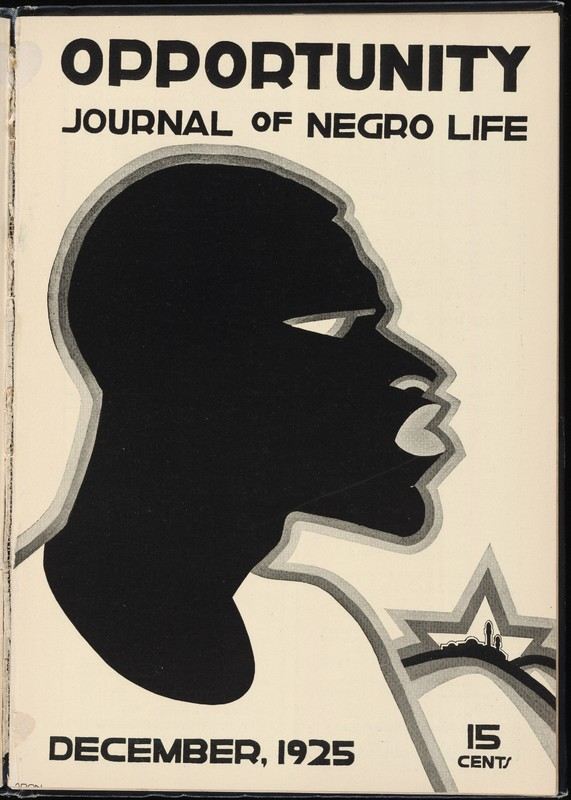 Cover of Opportunity, December 1925 issue. Drawn profile of a Black face.