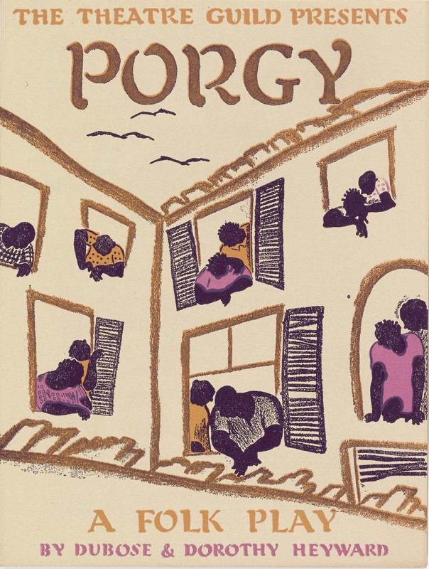 """""""The Theatre Guild Presents Porgy"""" Illustrated handbill for Porgy. Image is a drawing of a building with people leaning out of the windows."""