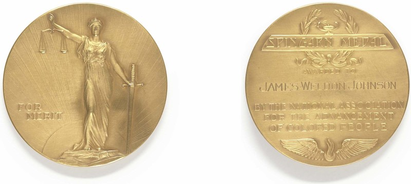 """2 sides of a gold medal. Front depicts Lady Justice with the scales and sword, with the words """"for merit."""" The back reads, """"Spingarn Medal awarded to James Weldon Johnson by the National Association for the Advancement of Colored People."""""""