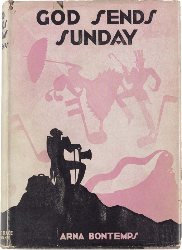 """Aaron Douglas's cover for Arna Bontemp's 1931 novel, """"God Sends Sunday."""" Pink background with silhouetted man with cane and hat seated, looking upward."""