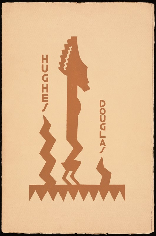 Hughes' and Douglas's last names printed vertically in orange, among print art of African statue and zigzag shapes.