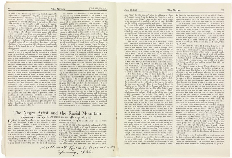 """The full text of """"The Negro Artist and the Racial Mountain"""" by Langston Hughes, published in The Nation on June 23, 1926. This copy is signed by Hughes.  Inscription: """"Langston Hughes. Written at Lincoln University, Spring, 1926."""""""