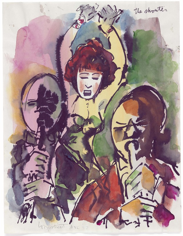 """Watercolor painting of singer and two musicians, inscribed """"The Shouter"""""""