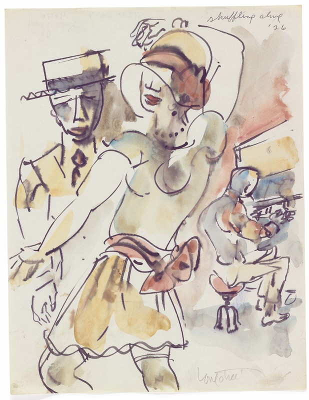 """""""'Shuffling Along' '26"""" Watercolor painting of a couple dancing and a pianist playing."""