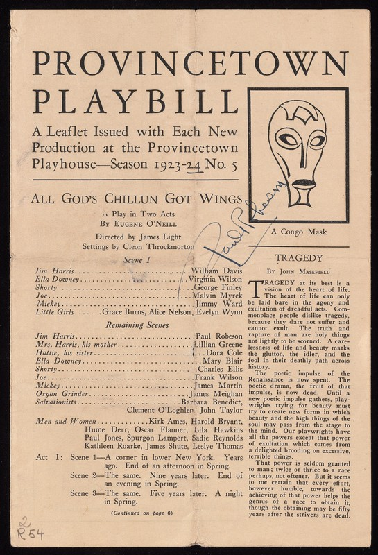 Provincetown Playbill for All God's Chillun Got Wings, with an image of a Congo mask.
