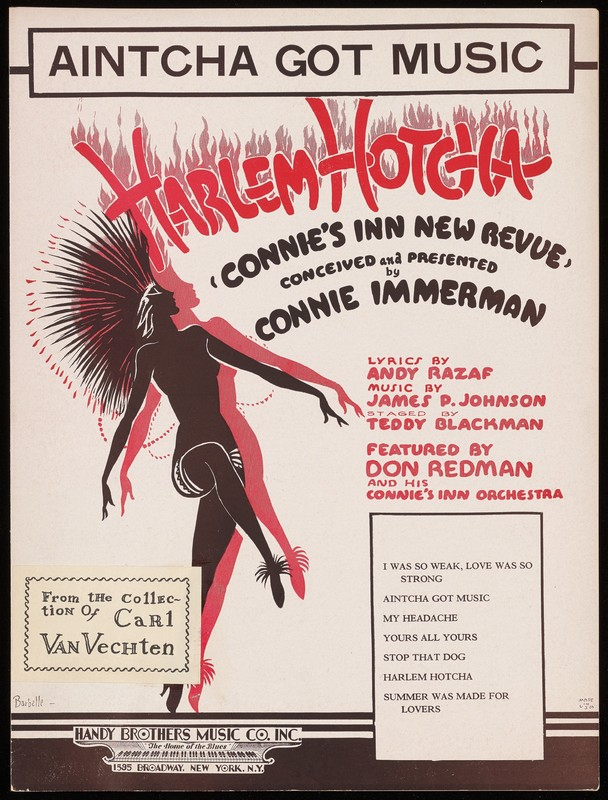 """Bright red and black text, with an illustrated black figure.  Caption title """"From Harlem Hotcha- Connie's Inn new revue- conceived and presented by Connie Immerman."""" For solo voice with piano and ukulele accompaniment. Illustrated title page signed: Barbelle."""