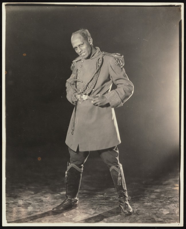 Black-and-white photograph of Charles Gilpin in costume for The Emperor Jones at The Playwrights' Theater. The costume looks like a high-ranking military uniform