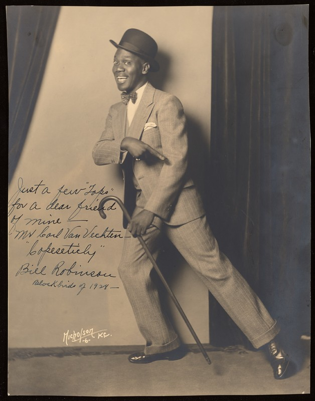 "Photograph of Bill Robinson in Blackbirds of 1928. Inscription reads ""Just a few 'Tops' for a dear friend of mine-- Mr. Carl Van Vechten--  'Copeseticly'  Bill Robinson  Blockbirds of 1928"""