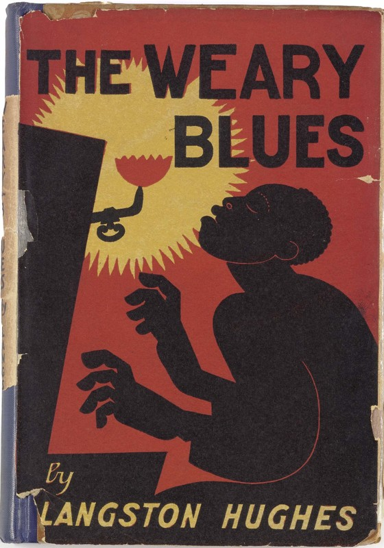 Cover of The Weary Blues by Langston Hughes, 1926. Red background with a silhouette of a person playing piano.
