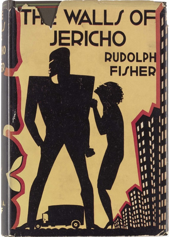 Aaron Douglas's cover of Rudolph Fisher's 1928 novel, The Walls of Jericho. Yellow background wit black and red details. Drawings of silhouetted figures next to  tall buildings and in front of cars.