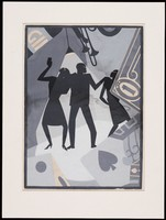 Gauche drawing by Aaron Douglas of 3 black figures on a blue background, surrounded by instruments and playing cards.