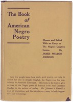 Front cover or The Book of American Negro Poetry, edited by James Weldon Johnson. Plain canvas cover wit the title of the book and editor on the front. No images.