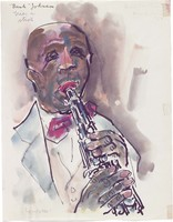 """Watercolor of an African American trumpeter """"Bunk"""" Johnson"""