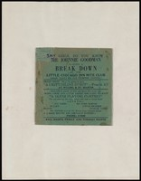 Mr. Johnnie Goodman's green rent party advertisement card for every Friday and Tuesday night.